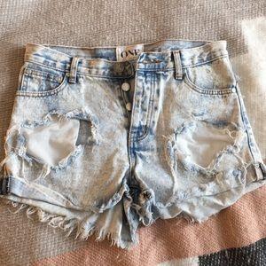 One Teaspoon Destroyed Jean Shorts